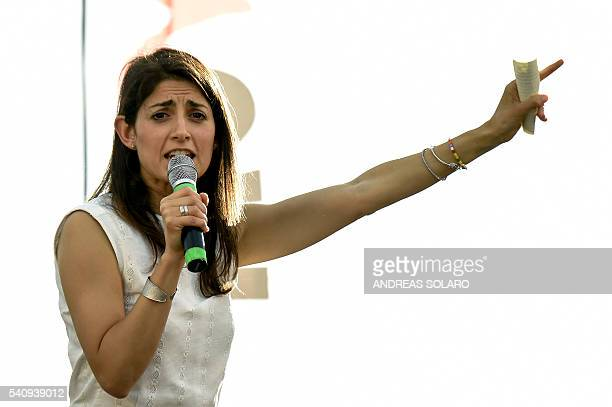 Virginia Raggi Five Star Movement candidate for the mayoral elections in Rome speaks during her last campaign meeting on June 17 2016 at Ostia Lido...