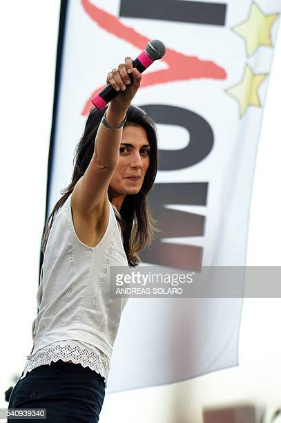 Virginia Raggi Five Star Movement candidate for the mayoral elections in Rome gestures during her last campaign meeting on June 17 2016 at Ostia Lido...