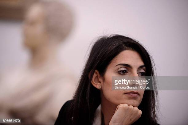 Virginia Raggi in Campidoglio for the press conference of the new services of AMA for separate collectionon November 28 2016 in Rome Italy