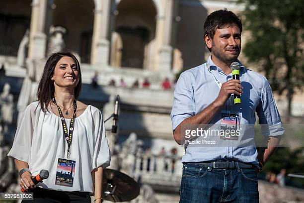 Virginia Raggi left candidate for mayor in Rome and Alessandro Di Battista right attend the closing act of the electoral campaign at Piazza del...