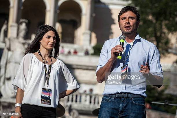 Virginia Raggi left candidate for the election of Rome's mayor and Alessandro Di Battista right attend the closing act of the electoral campaign at...