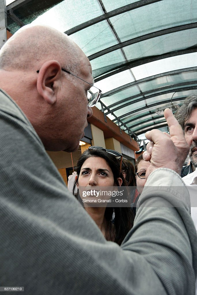 Virginia Raggi, mayor candidate of Rome for the Moviment 5 Star, visit Prenestino District and meets the citizens in the market, on April 5, 2016 in Rome, Italy.