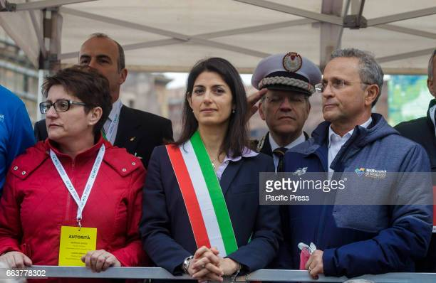 Virginia Raggi Mayor of Rome attends the 23rd edition of the Maratona di Roma an annual IAAF marathon competition hosted by the city of Rome Italy on...