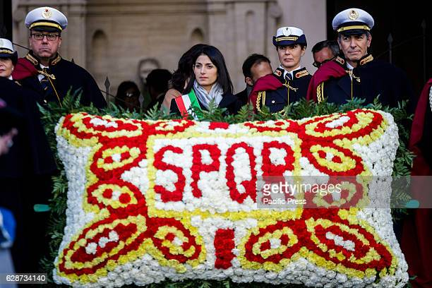Virginia Raggi Mayor of Rome attends the Immaculate Conception celebration at Piazza di Spagna in Rome Italy Since 1953 the Pope as Bishop of Rome...