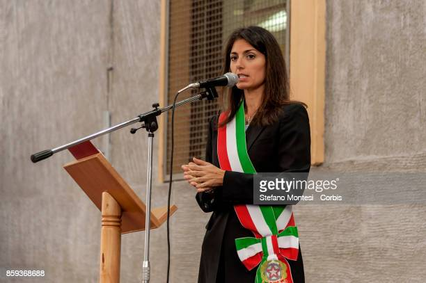 Virginia Raggi Mayor of Rome delivers a speech during the commemoration of the 1982 terrorist attack at the Great Synagogue of Rome on October 9 2017...