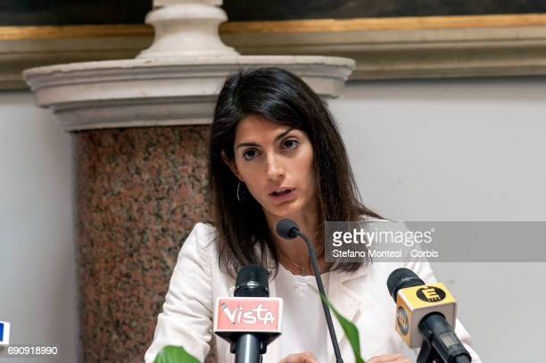 Virginia Raggi mayor of Rome during press conference to announces plans to close Roma Camps Objective to restore legality and encourage inclusion on...