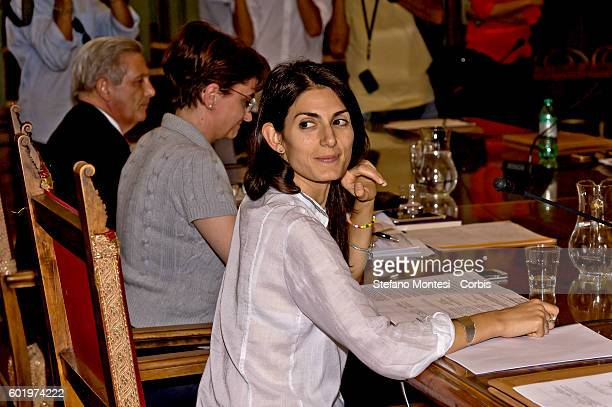 Virginia Raggi mayor of Rome during the city council at the Capitol on September 9 2016 in Rome Italy