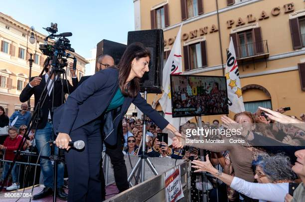 Virginia Raggi Mayor of Rome during the demonstration by the 5 Star Movement in front of the the lower house of parliament against the government's...