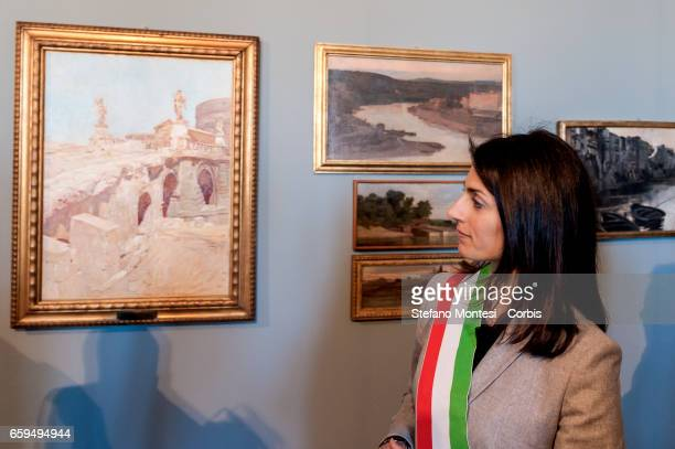 Virginia Raggi mayor of Rome during the inauguration the new Museum of Rome at Palazzo Braschi Piazza Navona on March 28 2017 in Rome Italy