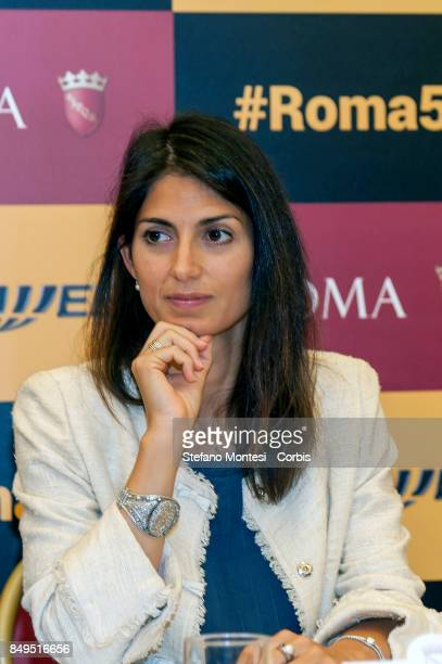 Virginia Raggi Mayor of Rome during the press conference for the launch of the 5G and Wi Fi services experimentation of Fastweb leader in...