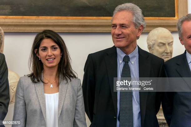 Virginia Raggi Mayor of Rome Francesco Rutelli former Mayor of Rome during the Celebrating 20 years of the Civil Service in Rome on November 28 2017...