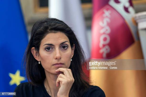 Virginia Raggi Mayor of Rome present the Draft Budget Forecast for the 20182020 for Rome Capital on November 23 2017 in Rome Italy