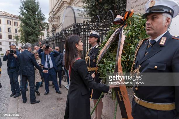Virginia Raggi Mayor of Rome with a wreath during the commemoration of the 1982 terrorist attack at the Great Synagogue of Rome 1982 on October 9...