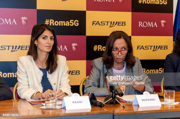 Virginia Raggi Mayor of Rome with Flavia Marzano Councillor in Rome Simple during the press conference for the launch of the 5G and Wi Fi services...