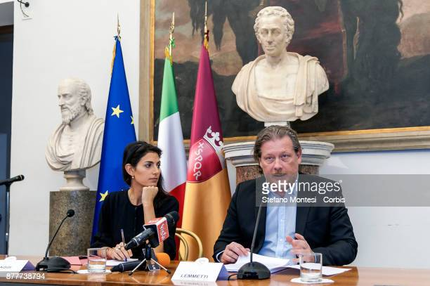 Virginia Raggi Mayor of Rome with Gianni Lemmetti Councillor for the Budget present the Draft Budget Forecast for the 20182020 for Rome Capital on...