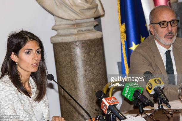 Virginia Raggi Mayor of Rome with Luca Montuori Councillor for Urban Planning present the project for the requalification of the former General...