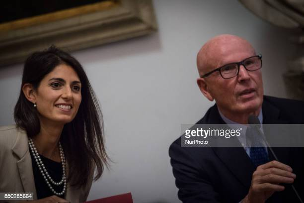 Virginia Raggi Mayor of Rome with Massimo Colomban Councillor Participants during a press conference to present plans to reorganise investee...
