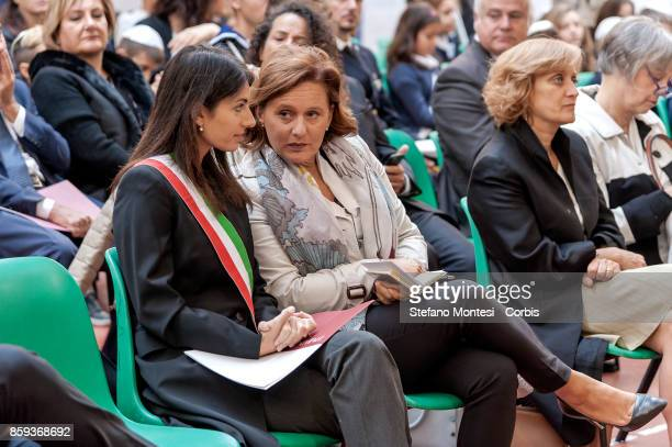 Virginia Raggi Mayor of Rome with Ruth Dureghello President of the Jewish Community of Rome during the commemoration of the 1982 terrorist attack at...