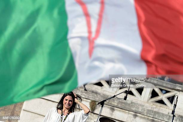 Virginia Raggi of the Movement 5 Star party speaks during the closing of her campaign for Mayor of Rome in Piazza del Popolo on June 3 2016 in Rome...