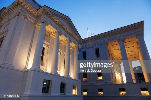 USA, Virginia, Richmond, Facade of State Capitol Building : Stock Photo