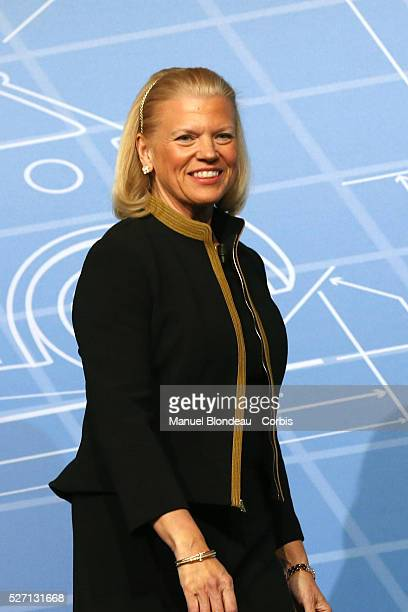 Virginia Rometty chairwoman and Chief Executive Officer of International Business Machines Corp arrives for a keynote session on the third day of the...