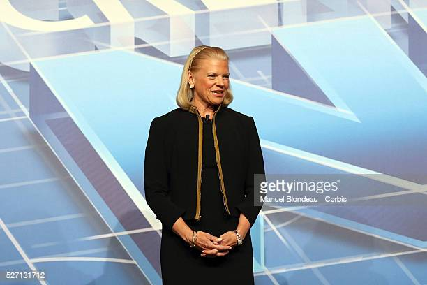 Virginia Rometty chairwoman and Chief Executive Officer of International Business Machines Corp speaks during a keynote session on the third day of...
