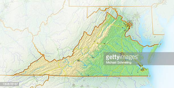 Virginia, shaded relief map, USA