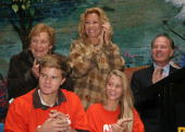 Virginia Sloane from Heckscher Foundation for Children Kathie Lee Gifford Frank Gifford Cody Gifford and Cassidy Gifford attend the unveiling of a...