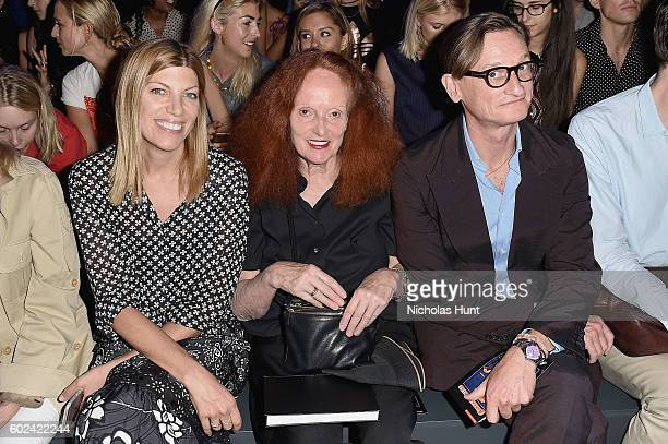 Virginia Smith Grace Coddington and Hamish Bowles attend the Hood By Air fashion show during New York Fashion Week The Shows at The Arc Skylight at...