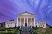 The Virginia State Capital Building during the holidays.