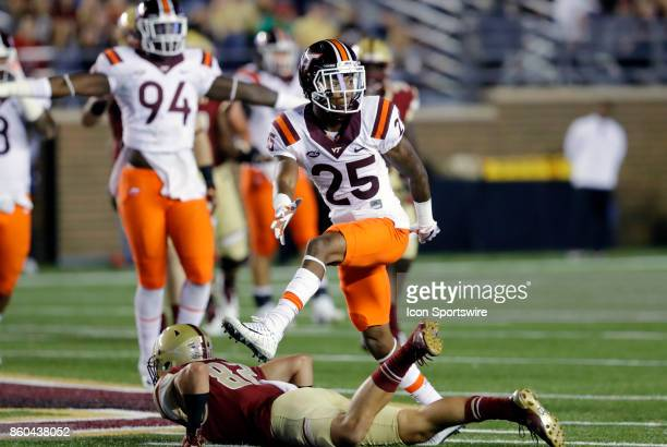 Virginia Tech cornerback Greg Stroman celebrates a defensive stop during a game between the Boston College Eagles and the Virginia Tech Hokies on...
