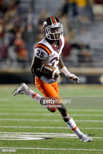Virginia Tech cornerback Greg Stroman turns up field during a game between the Boston College Eagles and the Virginia Tech Hokies on October 7 at...