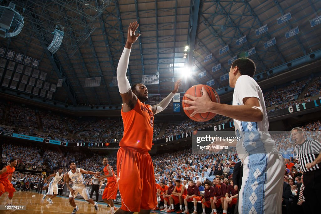 Virginia Tech Hokies forward Cadarian Raines #4 defends Marcus Paige #5 of the North Carolina Tar Heels as he tries to pass the ball in bounds during a game against the North Carolina Tar Heels on February 02, 2013 at the Dean E. Smith Center in Chapel Hill, North Carolina. North Carolina won 72-60 in overtime.