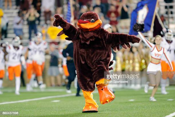 Virginia Tech mascot HokieBird during a game between the Boston College Eagles and the Virginia Tech Hokies on October 7 at Alumni Stadium in...