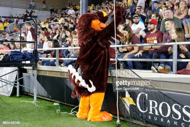 Virginia Tech mascot HokieBird entertains the crowd during a game between the Boston College Eagles and the Virginia Tech Hokies on October 7 at...