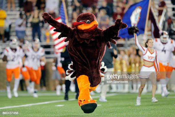 Virginia Tech mascot HokieBird leads the team onto the field during a game between the Boston College Eagles and the Virginia Tech Hokies on October...