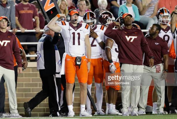 Virginia Tech quarterback Jack Click signals in the play during a game between the Boston College Eagles and the Virginia Tech Hokies on October 7 at...