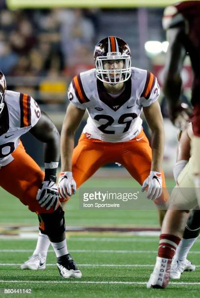 Virginia Tech tight end Dalton Keene sets up during a game between the Boston College Eagles and the Virginia Tech Hokies on October 7 at Alumni...