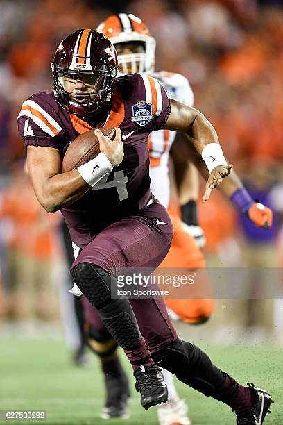 Virginia Tech University quarterback Jerod Evans during the ACC Championship football game between the Clemson Tigers and the Virginia Tech Hokies on...