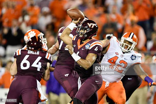 Virginia Tech University quarterback Jerod Evans throws a pass during the ACC Championship football game between the Clemson Tigers and the Virginia...