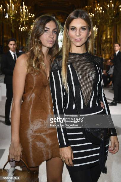 Virginia Valsecchi and Nicoletta Romanoff attend the Balmain show as part of the Paris Fashion Week Womenswear Spring/Summer 2018 on September 28...