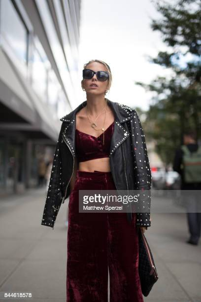 Virginia Varinelli is seen attending Cushnie et Ochs Chromat during New York Fashion Week wearing Revolve Scotch Soda Gucci on September 8 2017 in...