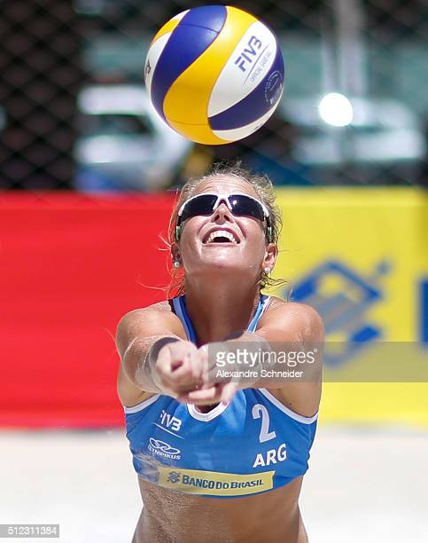 Virginia Zonta of Argentina competes in the main draw match against the United States at Pajucara beach during day three of the FIVB Beach Volleyball...