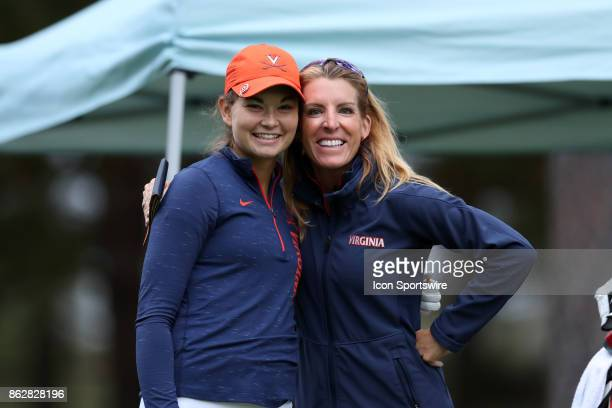 Virginia's Kate Harper with head coach Kim Lewellen during the first round of the Ruth's Chris Tar Heel Invitational Women's Golf Tournament on...