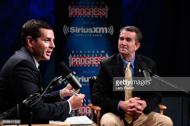 Virginia's Lt Governor Ralph Northam talks to host Dean Obeidallah about his gubernatorial campaign during a SiriusXM Town Hall at SiriusXM Studio on...