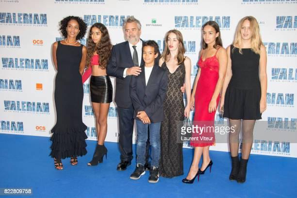 Virginie Besson Silla Sateen Besson Luc Besson Mao Besson Juliette Besson Thalia Besson and Shanna Besson attend 'Valerian et la Cite desMille...