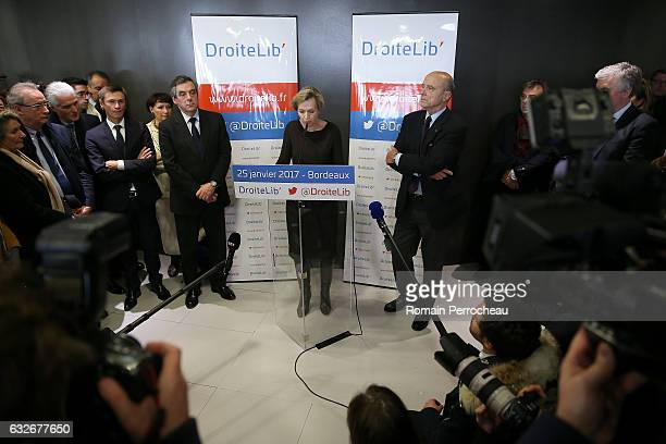 Virginie Calmels first deputy of Bordeaux has created a politic movement 'droite Lib' delivers a speech with former French prime minister and member...