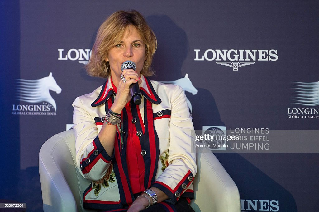 Virginie Couperie-Eiffel addresses the press during the 3rd Longines Paris Eiffel Jumping press conference on May 24, 2016 in Paris, France.