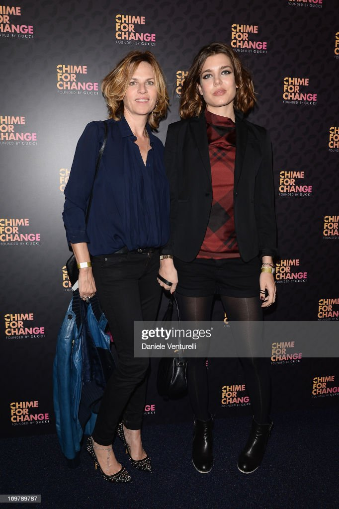 Virginie Couperie-Eiffel and <a gi-track='captionPersonalityLinkClicked' href=/galleries/search?phrase=Charlotte+Casiraghi&family=editorial&specificpeople=206874 ng-click='$event.stopPropagation()'>Charlotte Casiraghi</a> arrive at the Royal Box photo wall ahead of the 'Chime For Change: The Sound Of Change Live' Concert at Twickenham Stadium on June 1, 2013 in London, England. Chime For Change is a global campaign for girls' and women's empowerment founded by Gucci with a founding committee comprised of Gucci Creative Director Frida Giannini, Salma Hayek Pinault and Beyonce Knowles-Carter.