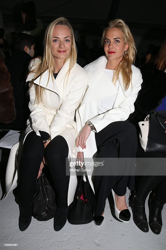 Virginie Courtin and Claire Courtin attend the Mugler Men Autumn / Winter 2013 show as part of Paris Fashion Week on January 16, 2013 in Paris, France.